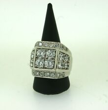 White Gold Men's Ring, 4 Stone Design with CZ