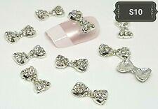 """New"" DIY 3D Nail Art Decoration Silver Bowes Alloy Rhinestone Gems Shinney UK#1"