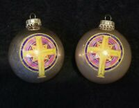 Pair Of Vintage Krebs Mercury Glass Christmas Ball Ornaments w/ Crosses
