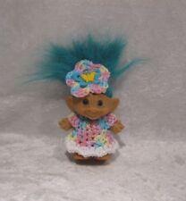 """Made to fit 2½-3"""" Troll Dam, Russ, Wishnik #20 Clothes, Crochet Dress, Headband"""