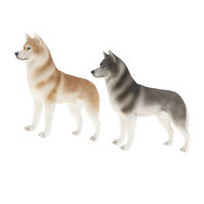 2pcs Wild Husky Dog Pet Animal Model Figure Toys Figurine Home Collectibles