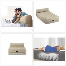 """Inflatable Airbed Air Mattress Bed Queen 18"""" with Headboard Built-In Pump Guest"""