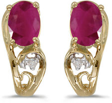 14k Yellow Gold Oval Ruby And Diamond Earrings (CM-E2590X-07)