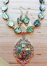 """ABALONE BEAD necklace ABALONE PENDANT earrings 17"""" plus extender chain"""