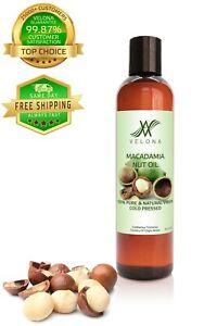 Macadamia Nut Oil By Velona - 8 oz Refined Cold pressed Skin, Hair Body Face