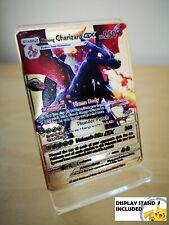 Shining / Shiny Charizard Gold METAL CUSTOM Pokemon Card With DISPLAY STAND