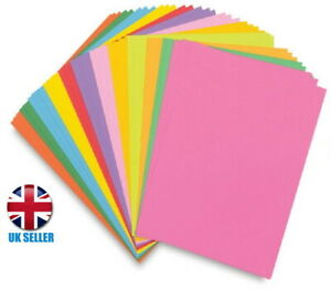 100 A4 PAPER SHEETS - 80GSM COLOURED PRINTER COPIER CRAFT PAPER - OFFICE SCHOOL