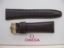 Brand New 22mm Brown Leather Strap & Vintage 18mm Omega Gold Plated Buckle