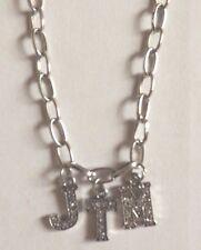 collier chaine argenté 45,5cm JTM strass