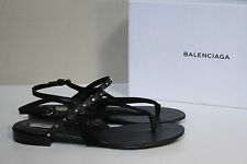 New sz 9.5 / 40 Balenciaga Black Leather Stud Thong Ankle Flat Sandals Shoes