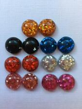 BB 12MM GLITTER FILLED RESIN CABOCHONS -  10 pairs / 20 flatbacks plain colour