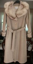 Windermere NY Fox Fur Collar Belt Coat Jacket Cream Brown