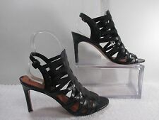 Via Spiga Caged Strappy Black Leather Open Peep Toe Heels Booties 10M 41.5