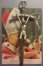 Papa Crocifisso GIOVANNI PAOLO II e Santino Benedetto bella RELIQUIA HOLY CARD