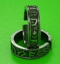 Solid Pewter Adjustable Viking Rune Ring - Reenactment - Nordic - Runeband Ring