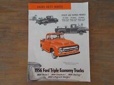 1956 FORD  TRIPLE ECONOMY TRUCKS  Light Duty Series  Brochure  - Original