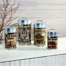 Set of 4 Tin Food Safe Old Mill Advertising Canisters Flour Sugar Coffee Tea