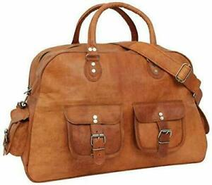 Leather Genuine Travel Bag Duffel Gym Men Vintage Luggage S Overnight Weekend
