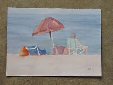 Beach Sitting Original Watercolor Painting~ RAMfish Artist Sunset Beach CA