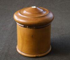 Antique Treen Boxwood Turned Powder Box c1860