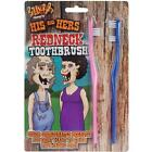 His and Hers Redneck Toothbrush Set Funny Gag Gift Joke 1 Pink Blue