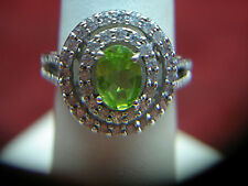 LOVELY STERLING SILVER HALO RING WITH PERIDOT & CZs - HAVE A LOOK
