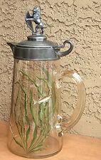 Fish Cameo Hp Glass Pitcher Stein Tankard Vase Lion Galle Bohemian Era Enameled