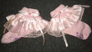 Girls Toddler Handmade Socks 2-3 Yr Tulle & Ribbon Ruffle Bow Button Light Pink