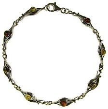 "7"" Inch/18cm Baltic Amber Sterling Silver 925 Ladies Bracelet Jewellery Jewelry"