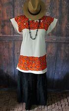 Orange & Black Ayautla Huipil, Squirrels Hand Embroidered, Oaxaca Mexico Hippie