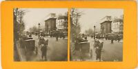 FRANCE Paris Instantané La Porte Saint-Martin, Photo Stereo Argentique 1900