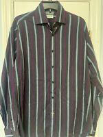 Thomas Dean Mens Large Shirt Button Down Striped Long Sleeve Flip Cuff