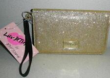 NWT Betsey Johnson LuvBetsey LBGLITZY WRISTLET Gold Glitter Clutch Wallet