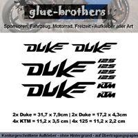 KTM Duke 125 Aufkleber Set 2 o, Rahmen Farbauswahl Motorsport Decal Sticker