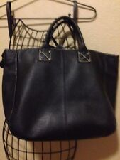 GAP Large Leather Tote Bag Purse Pebbled BLACK