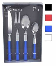 Home Basics NEW 16PC Blue Blue Red Flatware Cutlery Set Service for 4 - FS44363