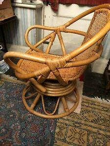 Cane rattan chair was a swivel chair