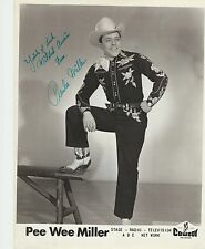 Pee Wee Miller Signed 8x10 Publicity Photo Cowboy Records ABC - Grand Ole Opry