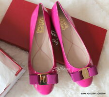 SALVATORE FERRAGAMO SF Varina Patent Pivoine Peony Pink Ballet Flats Shoes 6 36