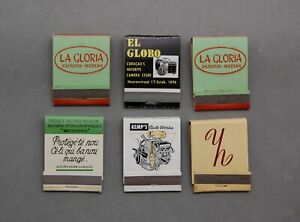 Matchbook Lot 6 Caribbean Kemps Auto, La Gloria Zapatos, El Globo Camera Vintage
