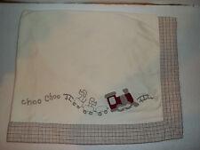 Gymboree Choo Choo Train Baby Blanket Baby Boy Cream Plaid Trim Reversable GUC