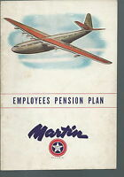 NB-036 - 1940's Martin Aircraft Employee's Pension Plan Booklet, Vintage.