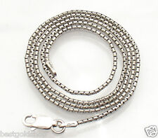 "18"" Italian Round Box Chain Necklace Real 925 Sterling Silver ANTI-TARNISH"