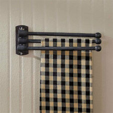 Three Prong Black Adjustable Wood Towel Rack -Kitchen Wall Decor by Park Designs