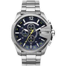 NEW Diesel Mega Chief Men's Dark Blue S-Steel Chronograph Bracelet Watch DZ4465