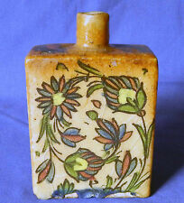 Late 18th century Persian Iznik polychromed floral pottery flask  Circa 1800