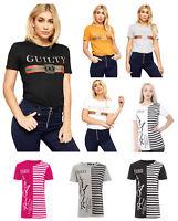 Mujer Manga Corta para Mujer Culpable Amour Texto Estampado de Diseño Camiseta
