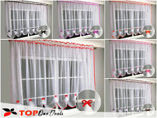 Top Quality Net & Voile Curtains  with Ribbons  Ready to hang  Red Black White