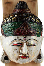 Wooden Thai Buddha Hand Painted / Carved Wall Hanging Mask