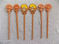Lot of 6 Vintage SENOR PICO Restaurant Swizzle Sticks 1966 Trader Vic's Sombrero